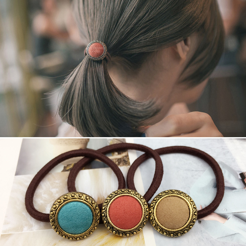 Korean version of retro cloth buttons simple gas quality section of the collar hair ring head rope flower girl the quality of accreditation standards for distance learning