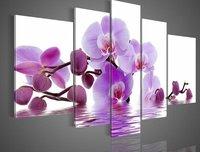 משלוח חינם 100% בעבודת יד גדול סחלב סגול קיר תמונת ציור שמן אמנות בד תמונת פרח עיצוב פנים בבית