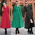 2017 nuevo diseño de invierno abrigo de las mujeres chaqueta de abrigo de lana de cuello con volantes de gran tamaño negro rojo mujeres de corea moda clothing w082