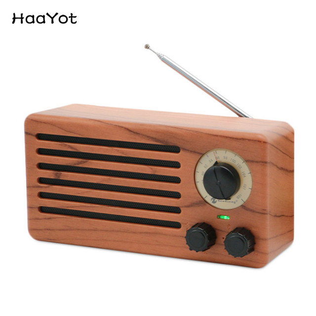5d4ce7667 HAAYOT Retro FM Radio Bluetooth Grain Speaker Wireless Digital Stereo Sound  Box Mini Player for Jazz Pop Music Support FM TF AUX