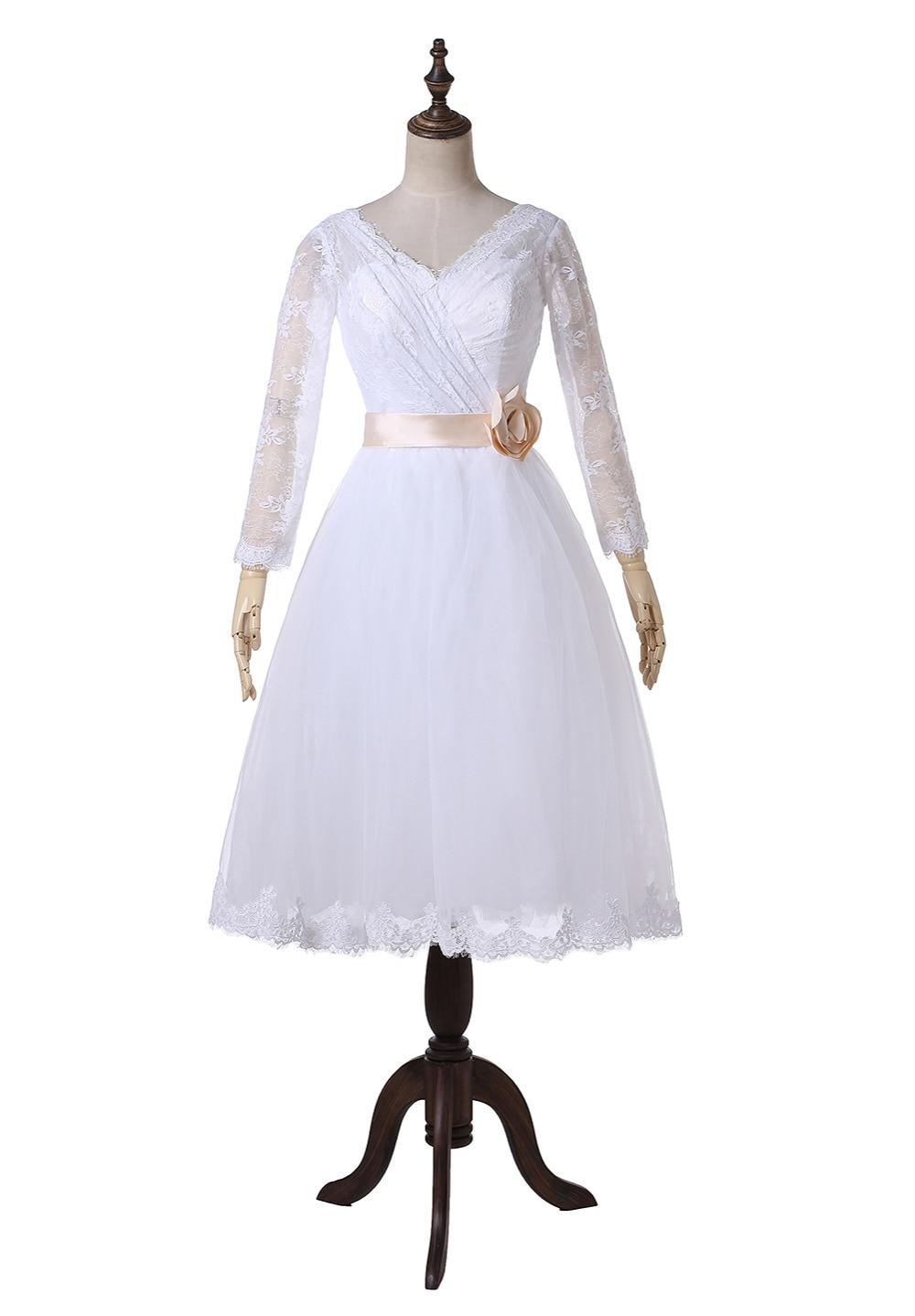 Real Image Flower Sash Long Sleeve Short Vintage Lace Wedding ...