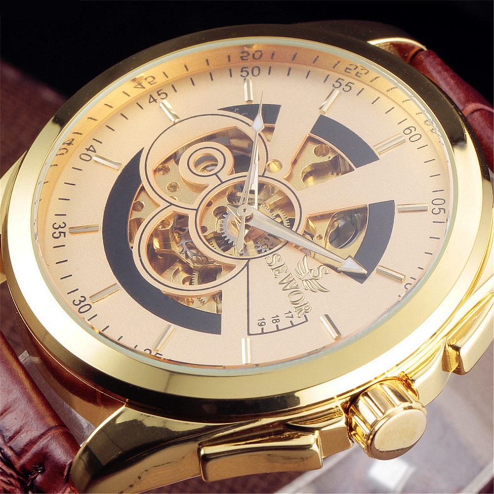 Original Top Brand Sewor Leather Relogio Masculinos Big Dial Gold Skeleton Mechanical Watches Men Luxury Automatic WristwatchOriginal Top Brand Sewor Leather Relogio Masculinos Big Dial Gold Skeleton Mechanical Watches Men Luxury Automatic Wristwatch