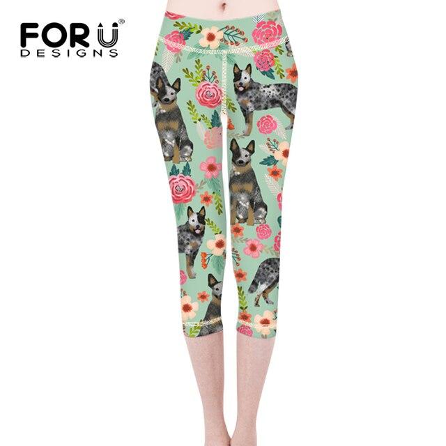 4a154ed61b9f48 FORUDESIGNS 2018 Leggings Australian Cattle Dog Florals Cream Print Fitness  Women Comperssion Pants Push Up Short Legging Femme