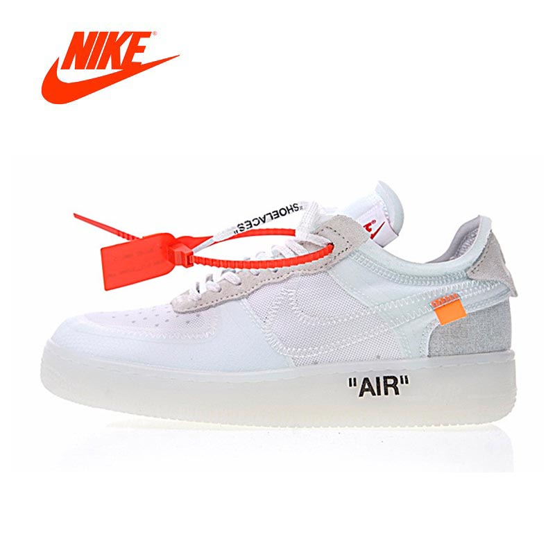 Original New Arrival Authentic Nike Air X Force 1 Low Ow AF1 Men Skateboarding Shoes Sport Outdoor Sneakers A04606-100