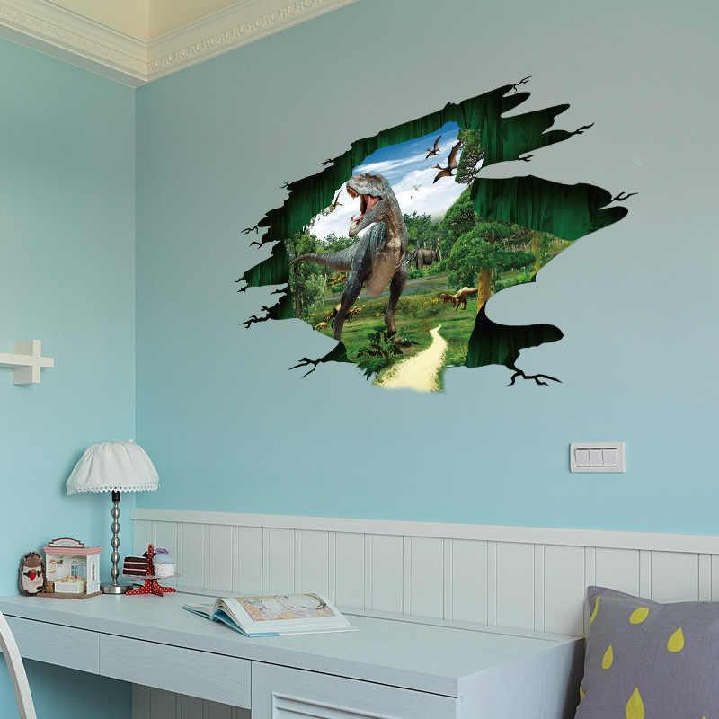100*57 см динозавры 3D стикер на стену s для детской комнаты отверстие вид наклейки на стену в виде животных пол стикер спальня диван, домашний декор подарки для мальчиков