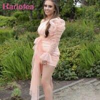 Karlofea mujeres Organza malla Ruched vestido señoras encantador elegante Outwear Sexy un hombro Puff manga hermosa fiesta Mini vestido