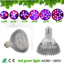 New hydroponics Lighting 15W 21W 27W 36W 45W 54W E27 Full Spectrum Led grow Light  Hydroponic LED Plant Grow Lights