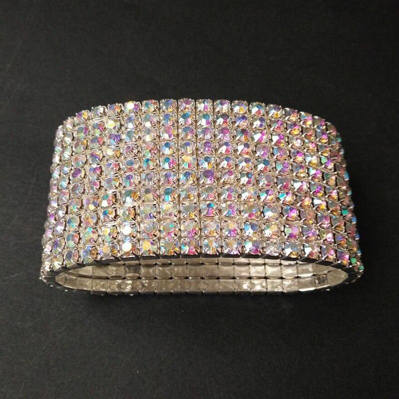 10 Rows Diamante Rhinestone Elastic Bridal Bangle Bracelet Stretch Wristband Brazaletes Pulseras Mujer Pulseira Feminina Bangles