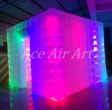 3mL*3mW*2.4mH RGB LED Inflatable Photo Booth backdrop Party Tent  for Reunion