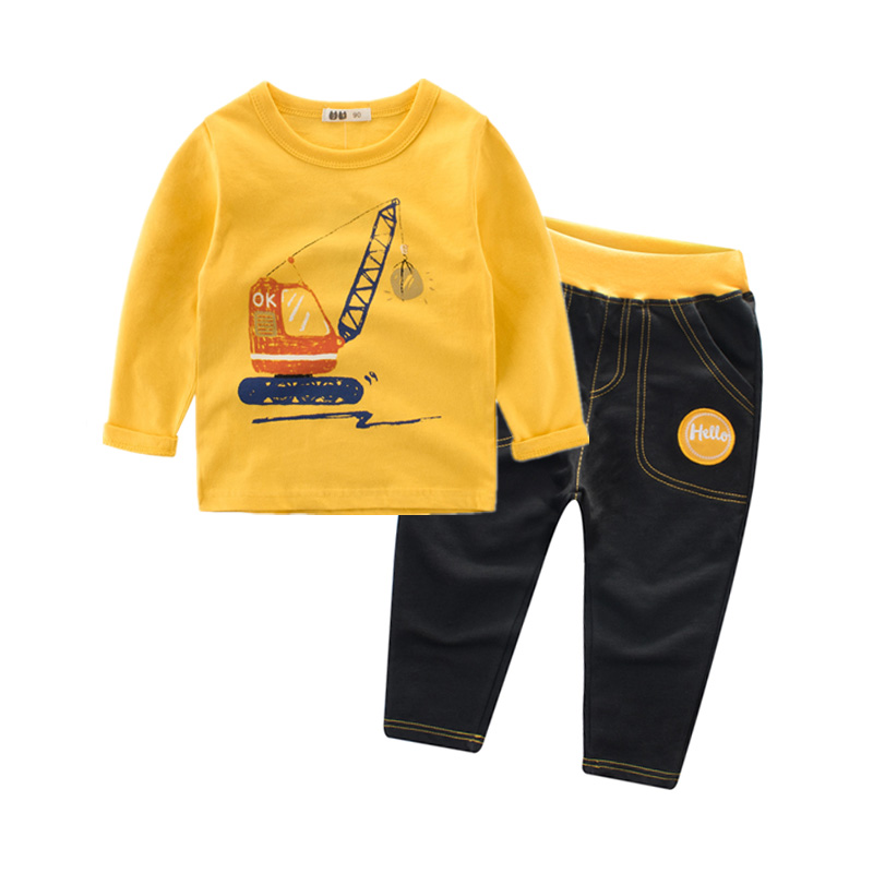 2018 New Boys Set Clothing Kids Cotton Long Sleeve T-Shirts and Trousers Boys Girls Tracksuits 2-8y Baby Children Clothes 4 12y 2017 new boys t shirt at cartoon children t shirts for boys girls tees cotton tops kids clothes and trousers