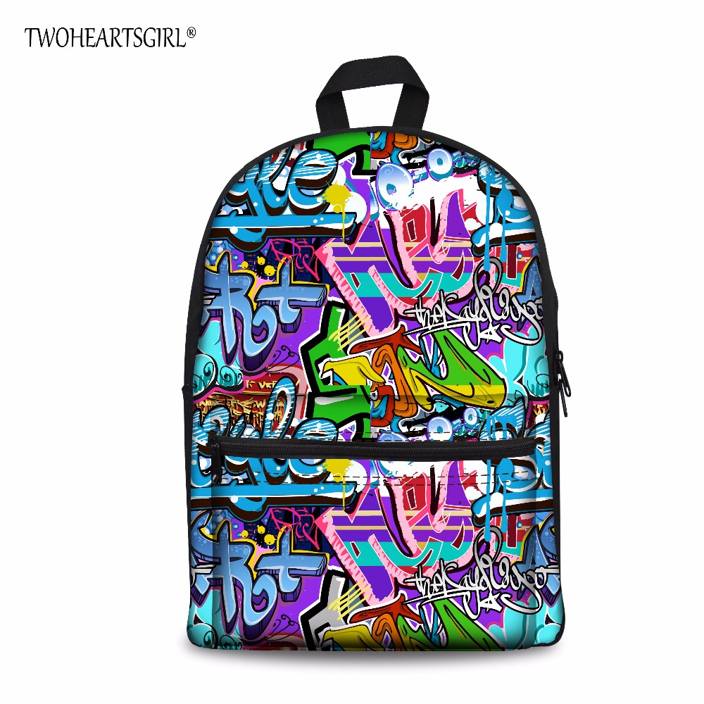 TWOHEARTSGIRL Personalized Creative Graffiti Two Zipper Side Pocket Backpack Lightweight Rucksack 15inch Knapsack Travel Mochila