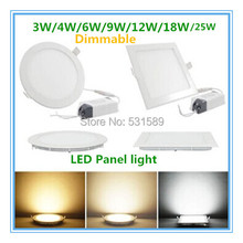 New Ultra thin design 3W / 6W / 9W / 12W / 15W/18w/25W  LED dimmable ceiling recessed grid downlight / slim round panel light