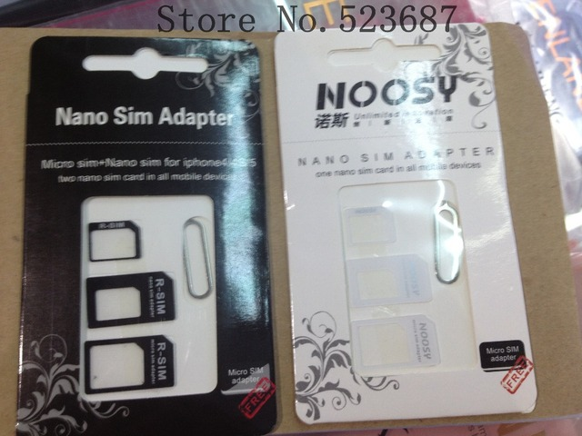 Free shipping  50pcs/lot Nano SIM & Micro SIM & Standard SIM card adapters for iphone 5/4/4s Foe samsung S3 S4 Note2