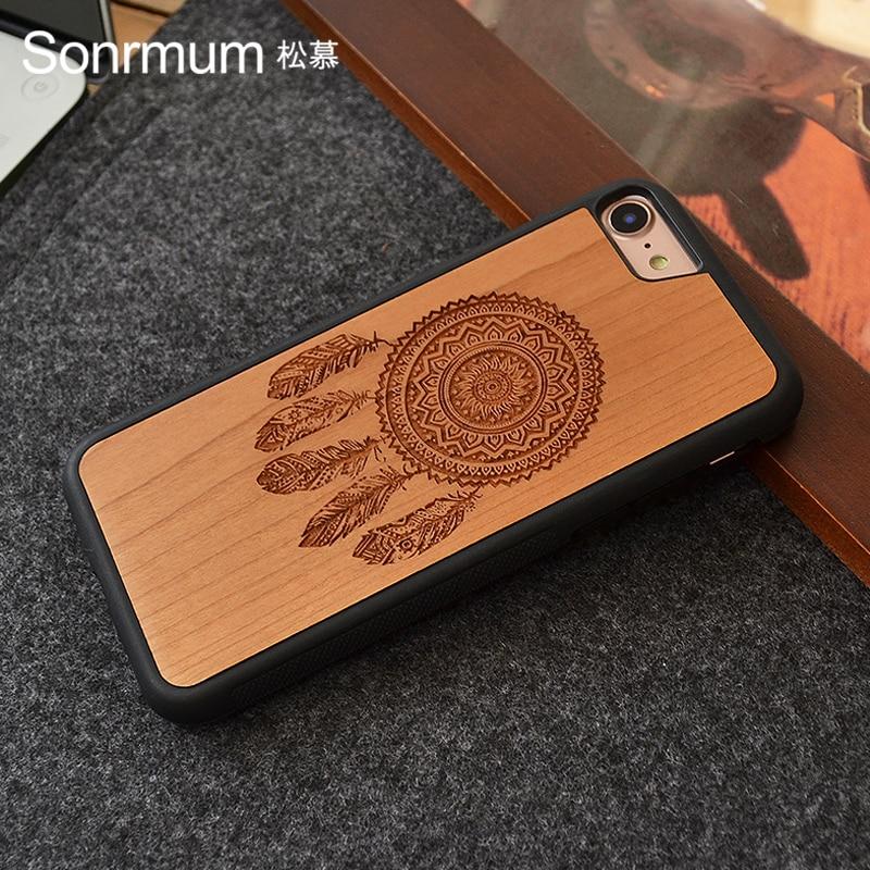 Dreamcatcher tallado en madera natural nueva marca de lujo delgada individual caja de teléfono de madera real para X Iphone 6 S 7 8 Plus carcasa de madera