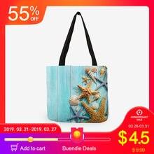 d9fee56f8c87 Женская сумка синий Морская звезда песчаный пляж «ТОТЕ» с принтами Сумка  льняная ткань красивая