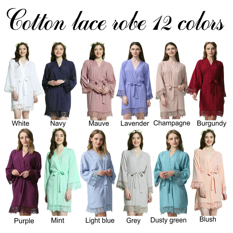 Solid bride Cotton Kimono Robes With Lace Trim Women Wedding Bridal Robe Short Belt Bath ...