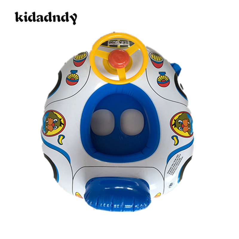 Cartoon inflatable seat double handle Childrens inflatable swimming ring seat Infant swimming circle a boat LMY908