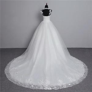 Image 2 - Foto real nova moda vestido de noiva 2020 grande trem o neck plus size vestidos de casamento tule voltar sexy vestidos de noiva doce flor