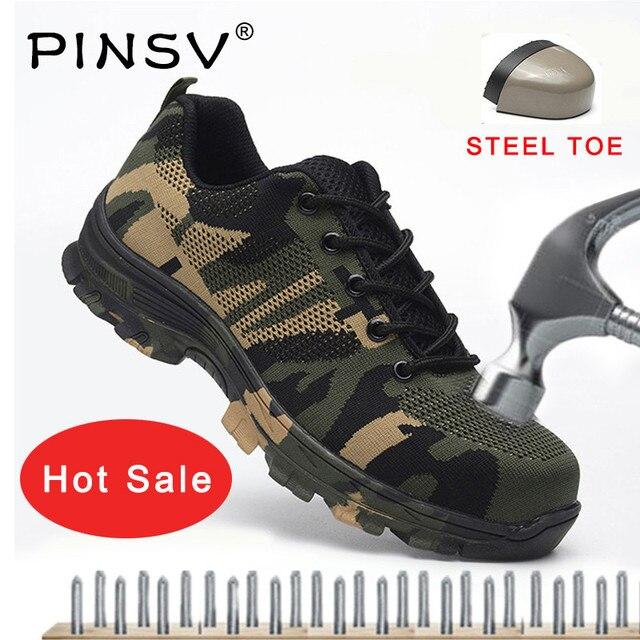 큰 크기 36-46 unisex 안전 신발 남자 작업 부츠 위장 강철 발가락 부츠 남자 야외 작업 신발 공기 메쉬 안전 부츠 pinsv