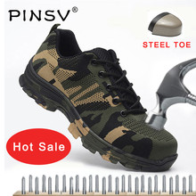 Big Size 36-46 Unisex Safety Shoes Men Work Boots Camouflage Steel Toe Outdoor Air Mesh PINSV