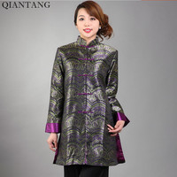 High Quality Ladies Satin Jacket Spring And Autumn Lady Long Sleeves Coat Flowers Size S M