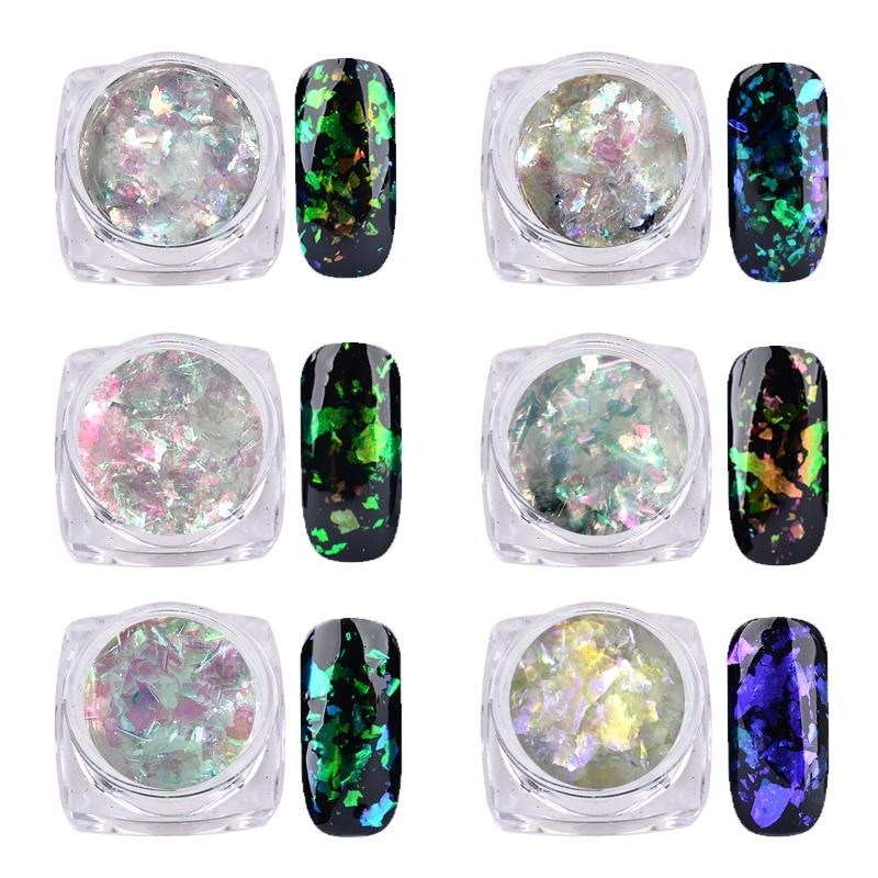 1 Box Chameleon Flakes Shimmer Galaxy Nail Glitter Dust: 1 Box Transparent Big Flakes Chameleon Nail Art Glitters