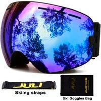 Double Layer Large Spherical Snow Goggle Spectacal Compatible UV400 Anti Fog Big Ski Mask Ski Goggles