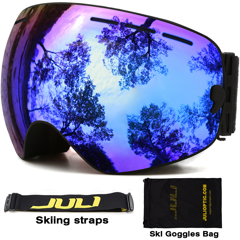 Ski goggles,JULI Brand Double Layers UV400 Anti-fog Protection Ski Mask Glasses Skiing Men Women Snow Sports Snowboard Goggles new 2018 uv400 anti fog ski goggles snowboard glasses ski snowmobile goggles snow ski mask sports goggles men skiing eyewear