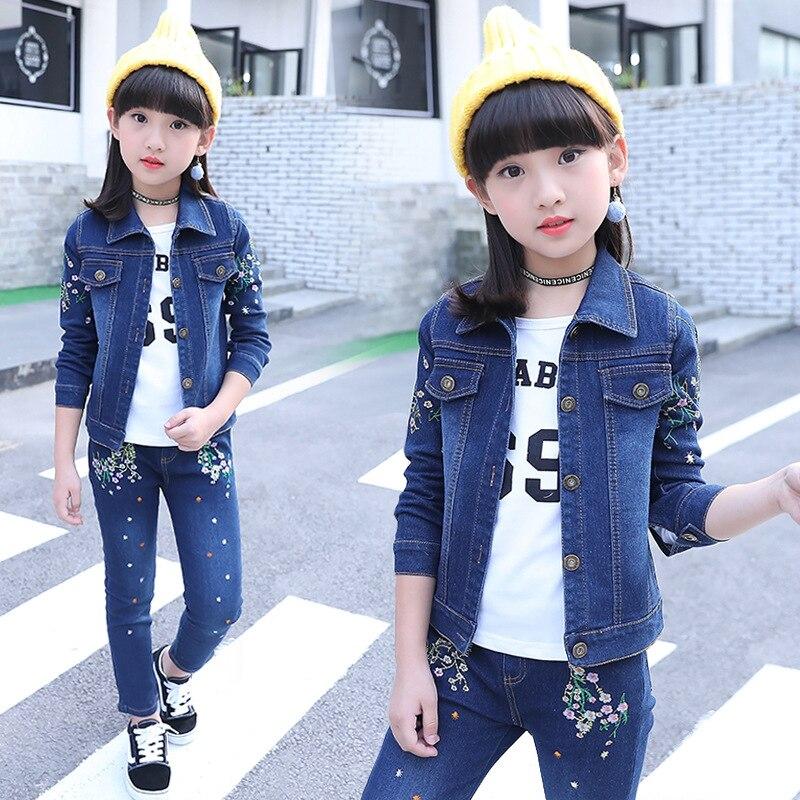 2019 nova primavera e outono lazer roupas de bebê menina se adapte às crianças roupas jeans bordado casaco + calças de brim terno do corpo meninas