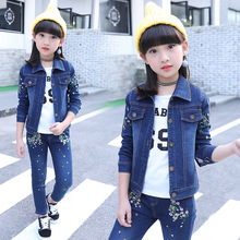 2019 new spring and autumn baby girl leisure clothes suits kids embroidered denim coat + jean trousers body suit girls
