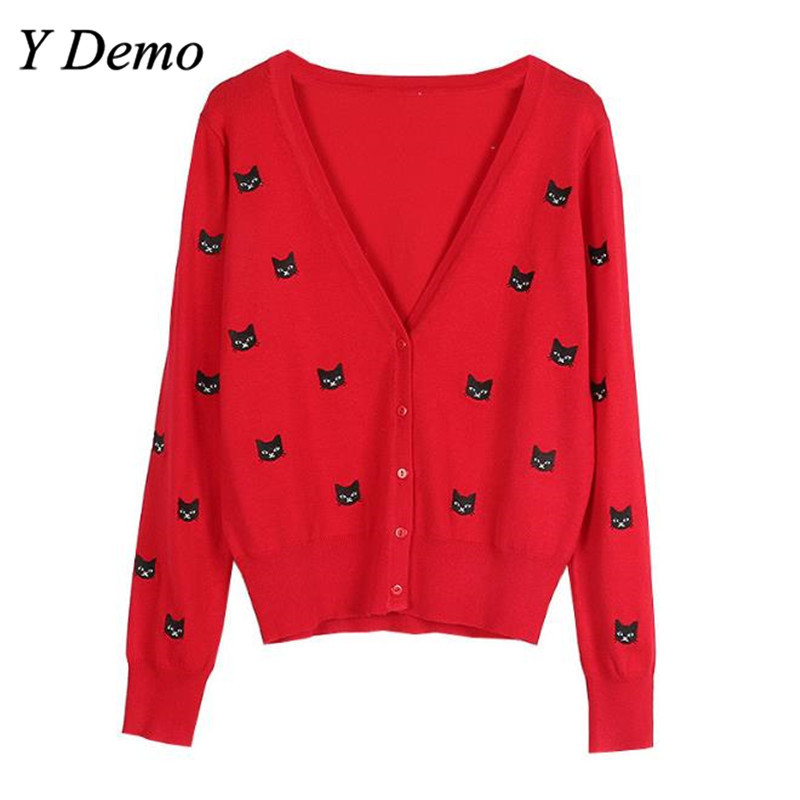 2018 Spring Dress New Knitted Cardigan Long Sleeve V-neck Slim Cat Embroidered Sweater