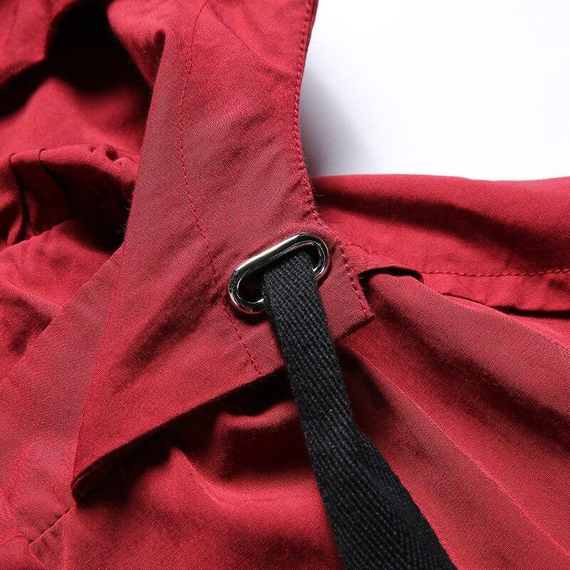 Plus Coat Coat Manteau Armée Longue green 2018 Capuchon Rouge Lâche Trench Coat Taille Casual Femmes La Noir À red Tranchée Vert Dames De Automne Black OpPSqxf