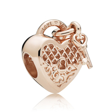 hot deal buy rose love you lock hearts charm beads fit pandora bracelet 100% real 925 sterling silver heart charm beads  diy jewelry 2018