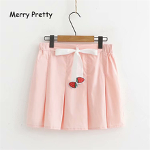 Merry Pretty Women Cartoon Strawberry Embroidery Pink Pleated Skirt 2019 Summer Sweet Style Empire Waist Mini School