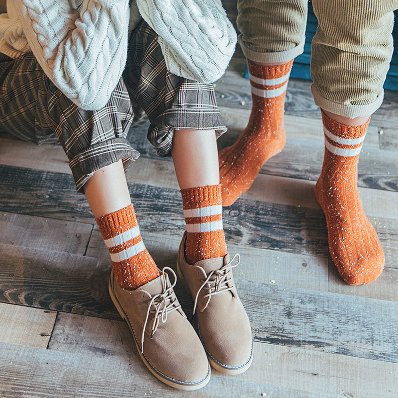 Mantieqingway Adult Mens Socks for Winter Warm Cotton Sock for Women Breathable Business Dress Long Tube Striped Printed Socks