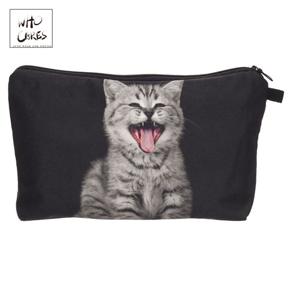 Who Cares Tongue Cat Printing Fashion Makeup Bags Cosmetics Pouchs For Travel Ladies Pouch Women Cosmetic Bag