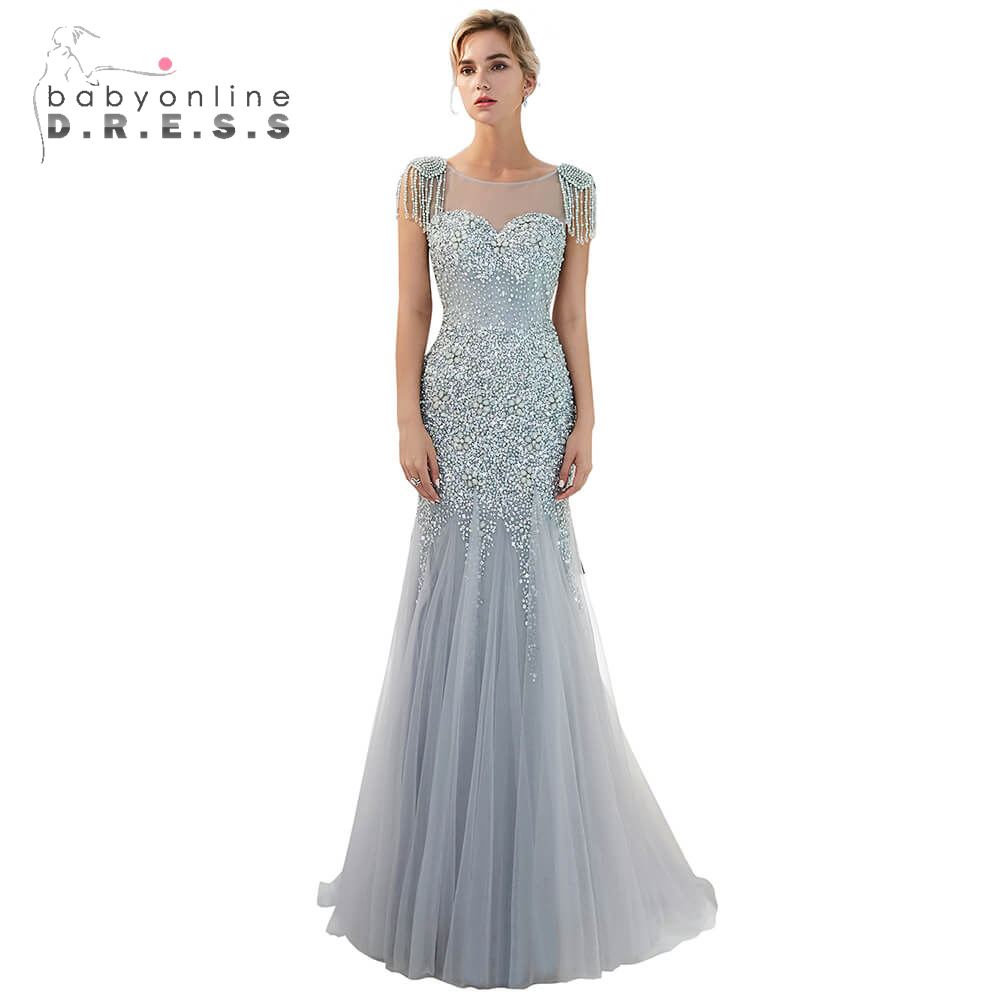 Luxury Beaded Crystals Long Prom Dresses 2019 Illusion Sleeveless Prom Gowns Sexy Open Back Formal Party Dress Vestidos