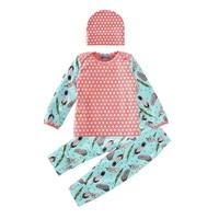 Autumn Baby Girl Clothing Set 2017 Fashion Polka Dot T Shirt Feather Pant Cap 3pcs Girl