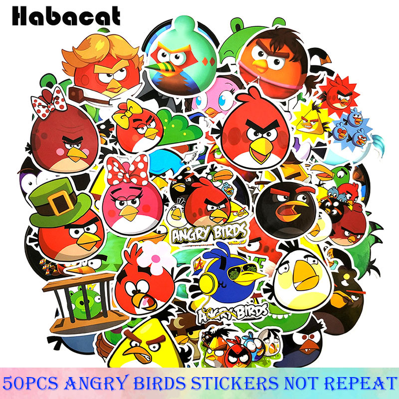 50 Pcs/Pack Angry Bird Puzzle Games Cartoo Stickers For Motorcycle Luggage Laptop Bicycle Skateboard Stationery Guitar Stickers