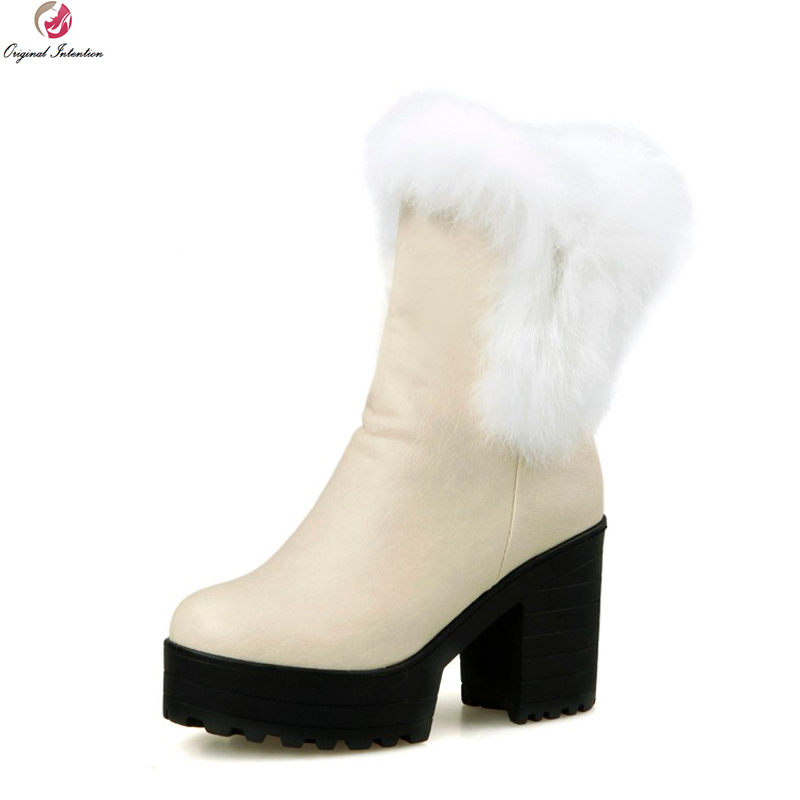 Original Intention Winter Shoes Fashion Round Toe Thick Heel Mid-Calf Boots Women Snow Boots with Rabbit Hair 3 Colors Plus Size 2016 winter women short snow boots fashion suede round toe low heel shoes big size 30 52 ladies slip on mid calf tassel boots