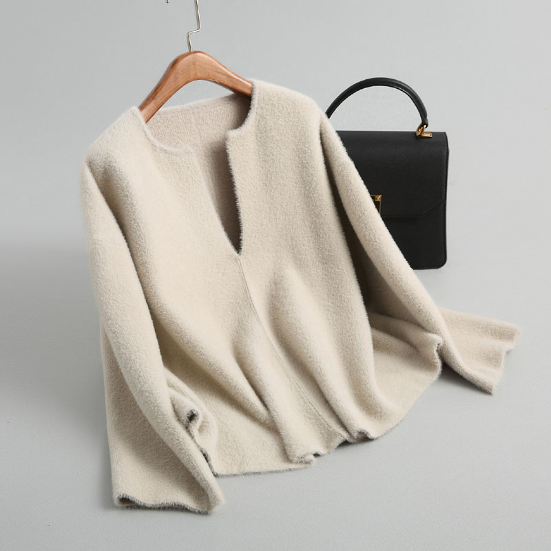 J184 Women autumn chic v neck long sleeve solid color soft tounching sweater ladies pullover diamond