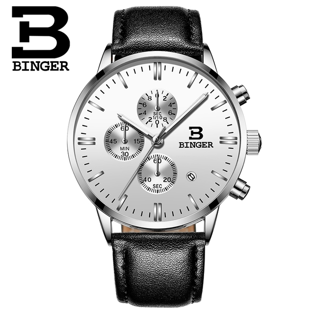 Genuine BINGER Quartz Male Watches Genuine Leather Watches Racing Men Students Game Run Chronograph Watch Male Glow Hands 2017 2