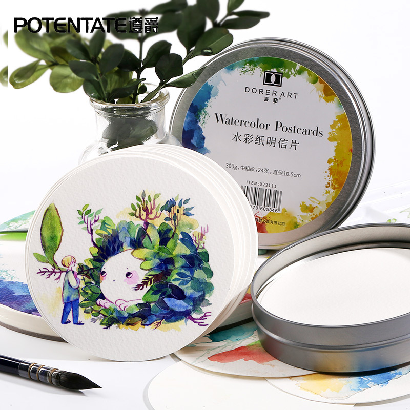 YDNZC Professional Creative Round Watercolor Paper Pad Aquarelle Book Painting Paper Hand Painted Offfice School Supplies