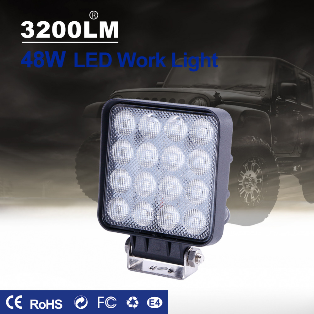 TC-X LED Work Light 16 x 3W Square Offroad Led 12/24V Extra Light Portable Flood Light Motor Tractor Truck Car Styling Wholesale