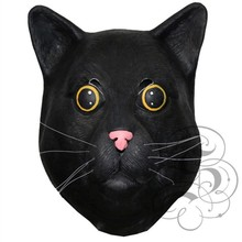 Black Jack Cat Full Overhead Face Mask Soft Latex Rubber Theatre Costume Cosplay
