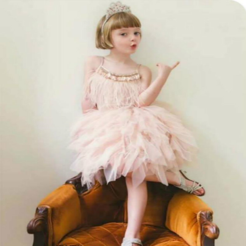 Summer Princess Dresses for Girls Tutu Swan Feather Drill Sequin Birthday Wedding Party Girl Dress Kids Costume Christma Vestido
