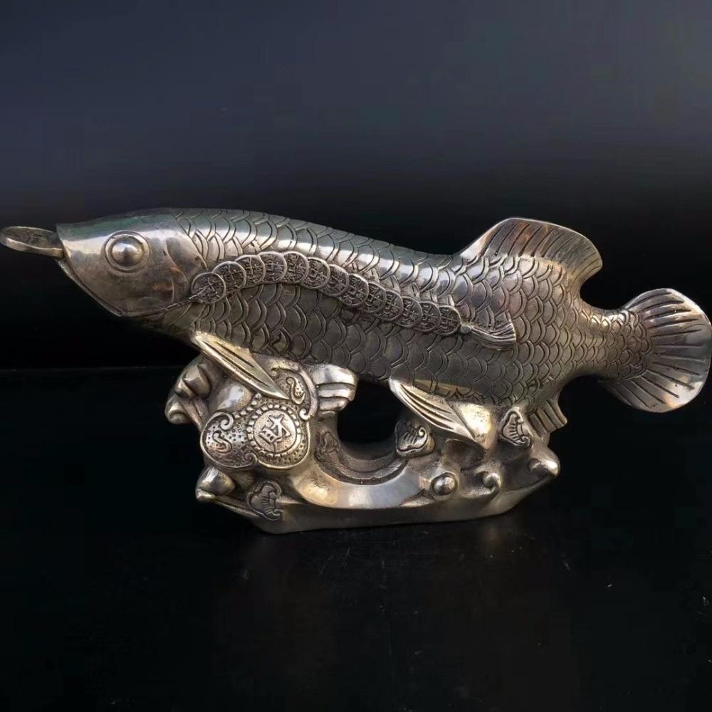 Collection tibet argent argent poisson statue, maison/bureau bureau décoration Feng shui poisson sculpture métal artisanat