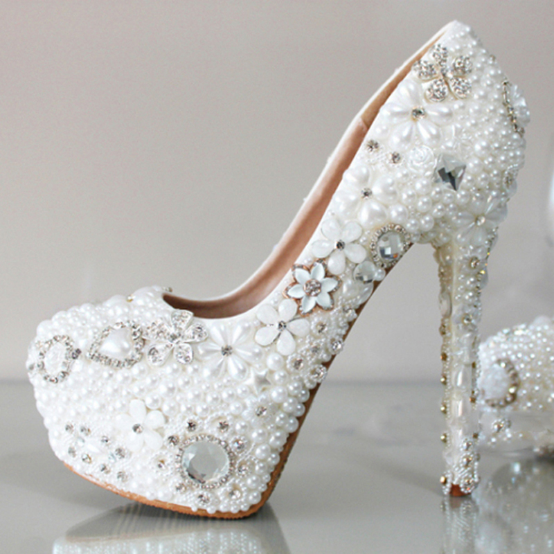 2018 Luxury High Heels Dress Shoes Fashion New Woman Platform Shoes Pearl Round Toe Bridal Wedding shoes stainless steel full window with center pillar decoration trim car accessories for hyundai ix35 2013 2014 2015 24
