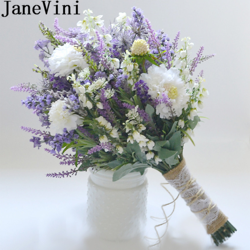 Flowers For A Wedding Bouquet: JaneVini Lavender Purple White Flowers Wedding Bouquet
