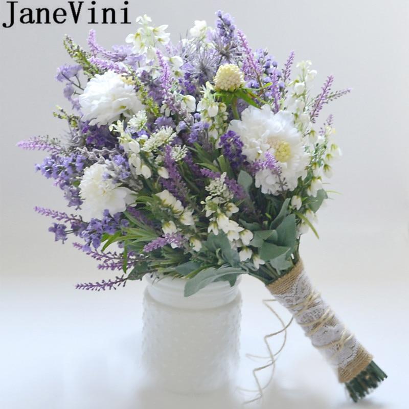 JaneVini Lavender Purple White Flowers Wedding Bouquet Brides Vintage Hemp Rope Hand Bridal Bouquet Groom Corsages Boutonniere